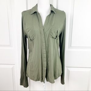 Converse One Star Olive Long Sleeve Button Down